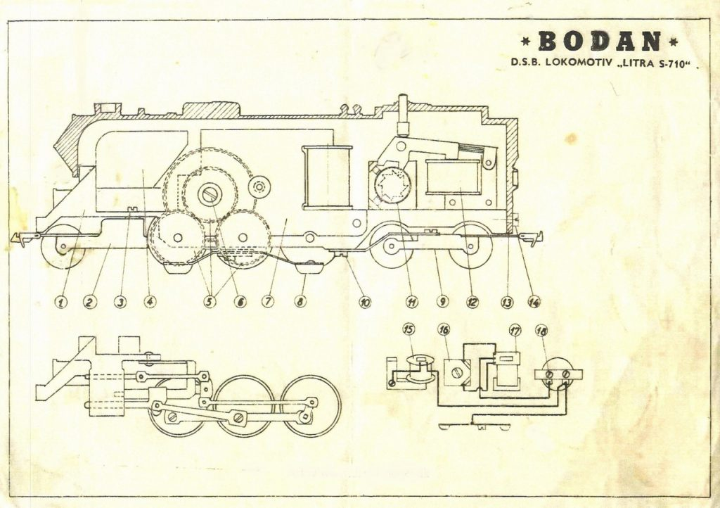 antonio reyna bodan cucciolo azzurro shows in its longitudinal section of the arrangement of the engine the transmission and the relay as well as the wiring diagram of the locomotive