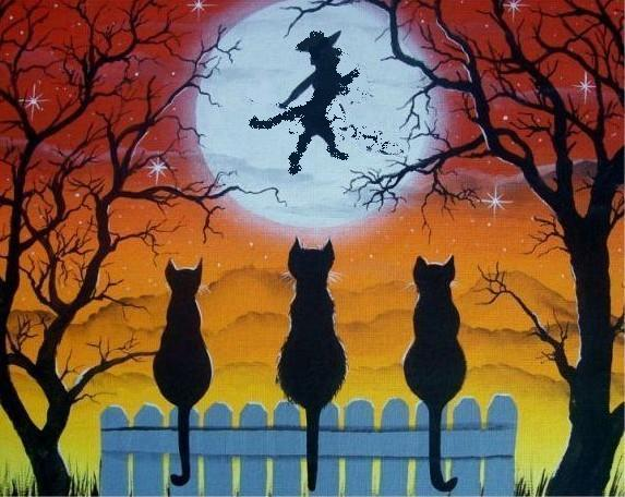 Cat witch moon